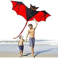 Large Bat Kite Bigバットマン子供用大人用新しいレインボーカラフルなマジックドラゴン動物Kite Easy Flyer凧Park FlyerビーチFavorsアウトドアお気に入りToyギフト
