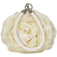Kuang Women's Satin Flower Clutch Bag Rose Wristlet Wedding Party Purse Silk Ring Handle Evening Shoulder Handbags