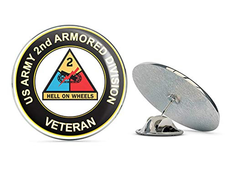 U.S. Army Veteran 2nd Armored Division 0.75インチ ラペルハットピン タイタック ピンバック