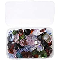 F Fityle 60pcs Fashion Glass Love Heart Beads Charms Crystal 3D Jewelry Making Findings