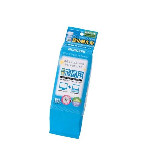 エレコム クリーナー ウェットティッシュ 液晶用 詰め替え用 ほこりが付きにくくなる帯電防止効果 100枚入り WC-DP100LSP3