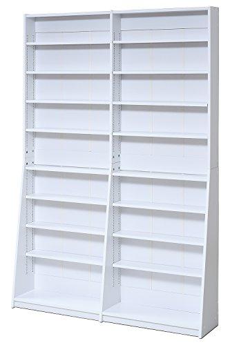 JKプラン 1cmピッチ 文庫本収納ラック 幅120 本棚 ワイド 高さ 180 センチ オープンラック 文庫本専用 棚位置 かんたん変更 目盛り付き FRM-0010-WH