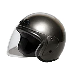 バイクパーツセンター バイクヘルメット ジェット ガンメタリック FREE (57cm~60cm未満) 7203