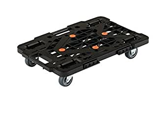 TRUSCO 連結型樹脂製平台車 ルートバン ブラック 615×415 メッシュタイプ MPK600BK