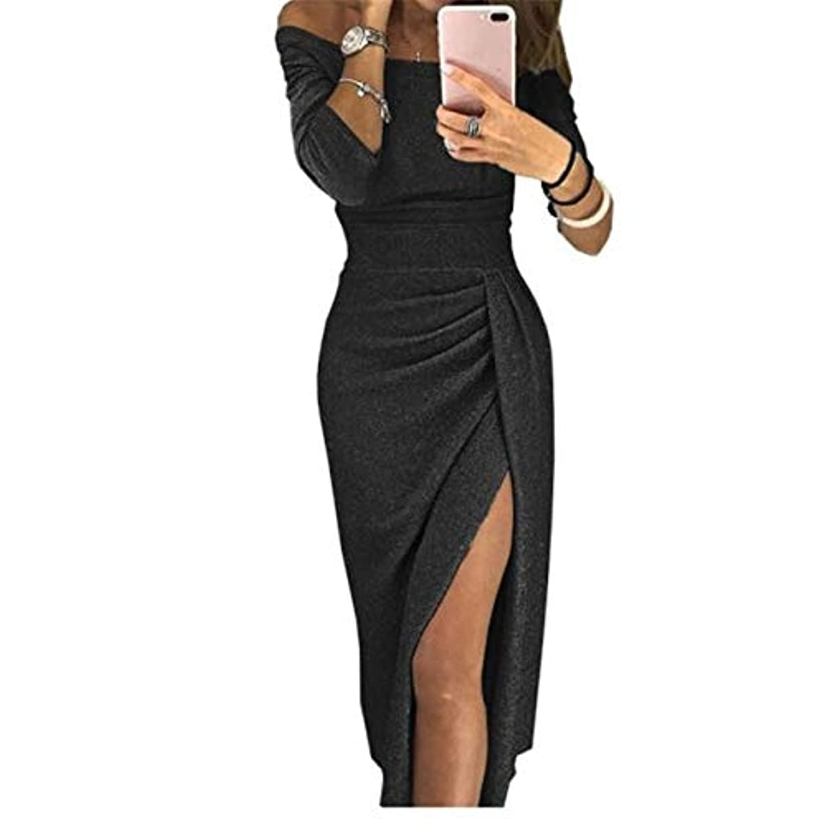 スモッグ約似ているOnderroa - 夏の女性のドレスはネックパッケージヒップスプリットセクシーなスパンコールのドレスレディース包帯パーティーナイトクラブミッドカーフ服装スラッシュ