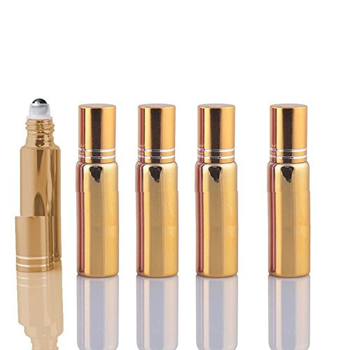 推測するに関して各10 Sets Colored 5ml UV Coated Glass Roller Ball Refillable Rollon Bottles Grand Parfums with Stainless Steel Rollers for Essential Oil, Serums, Fragrance (Gold) [並行輸入品]