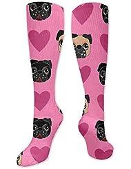 靴下,ストッキング,野生のジョーカー,実際,秋の本質,冬必須,サマーウェア&RBXAA Pug Love Socks Women's Winter Cotton Long Tube Socks Knee High Graduated...