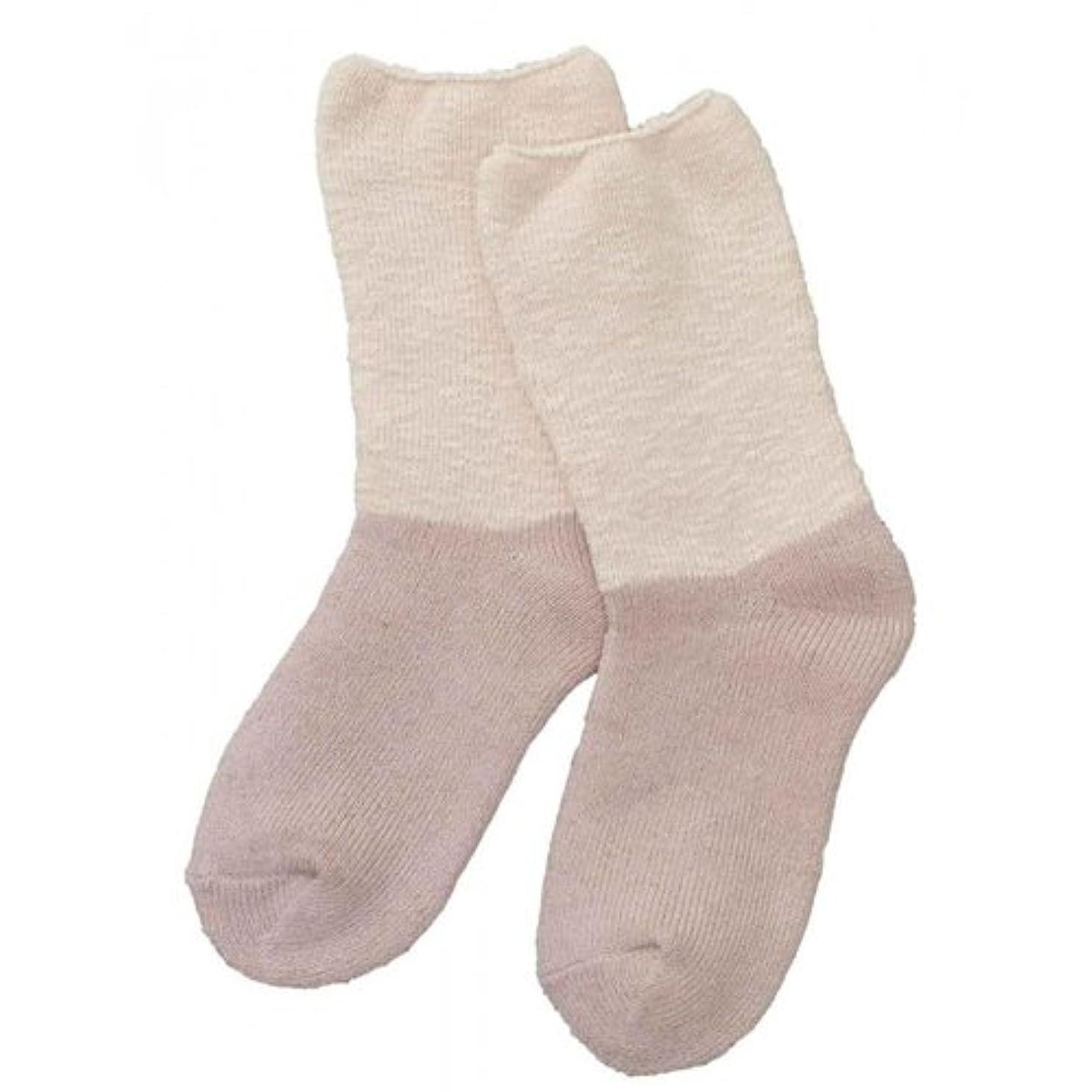ミケランジェロ逆説以下Carelance(ケアランス)お風呂上りのやさしい靴下 綿麻パイルで足先さわやか 8706CA-12 ピンク