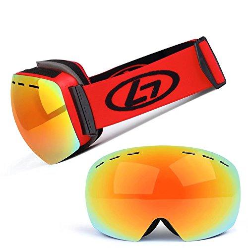 InitialG【イニシャルジー】ゴーグル 男女兼用 スキー スノーゴーグル サイクリングゴーグル 球面 ダブルレンズ 眼鏡 曇り止め UVカット 防風 008-hgy-h018(フリーサイズ レッド )