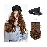 女性のファッショナブルな海軍は女性の毎日のパーティーの使用のための髪のかつら天然、合成ロングカーリーヘア波状17.7インチのヘアアクセサリースーツと帽子,Lightbrown