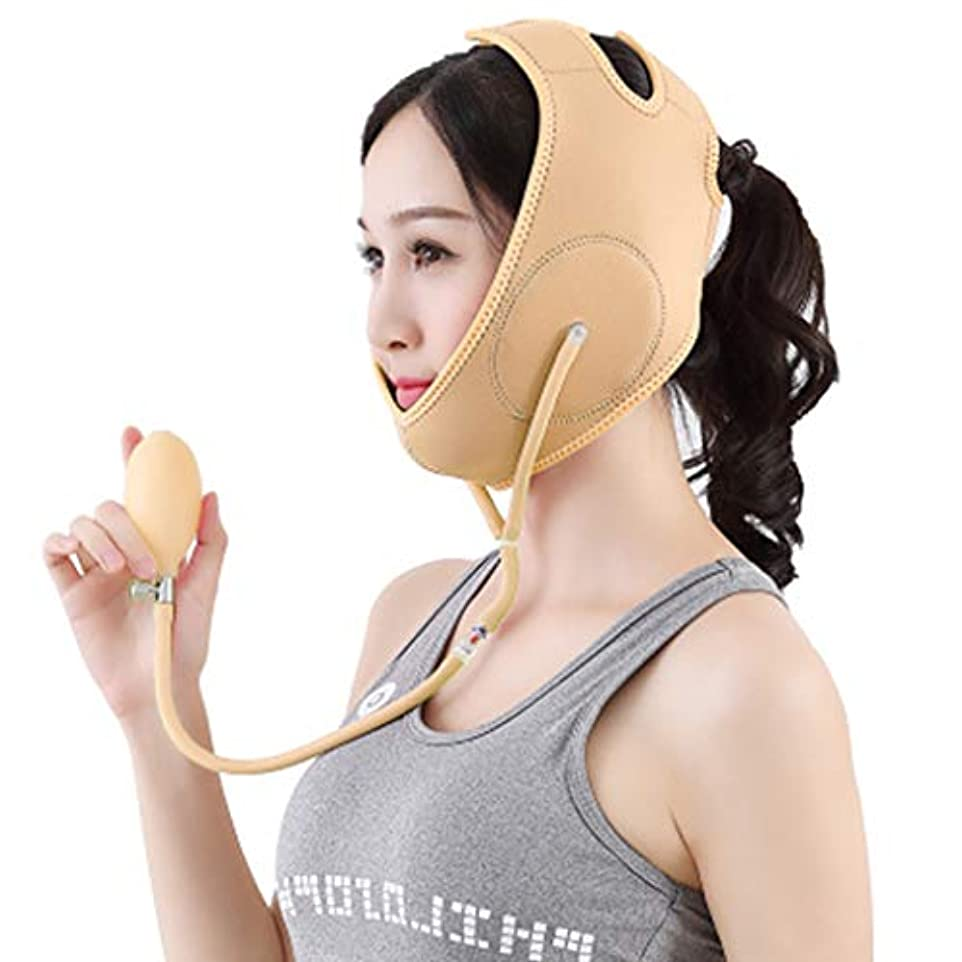 体重減少マスクフェイスリフティングフェースマスクVフェイスリフティング型マッサーダブルチン包帯インフレータブル,Beige