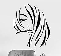Ansyny 42 * 51センチファッション女の子シルエットウォールステッカー寝室の家の装飾美容ヘアサロン美容院ビニール壁デカールステッカー理髪店