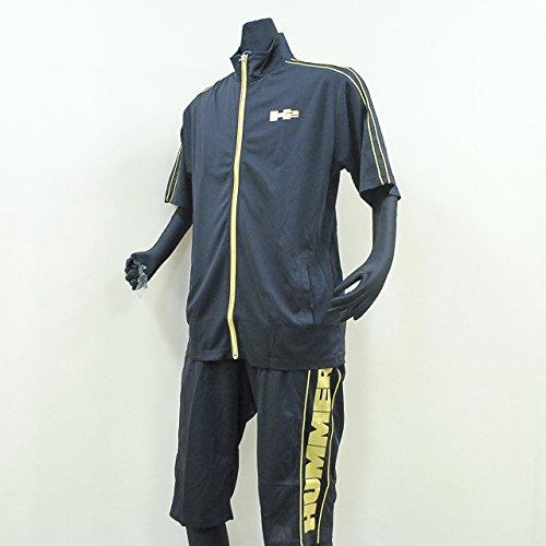 HUMMER ハマー 吸汗速乾、消臭機能付き 半袖ジャケット・ハーフパンツ メンズ ジャージ上下セット Tスーツ Mサイズ 21.ゴールド