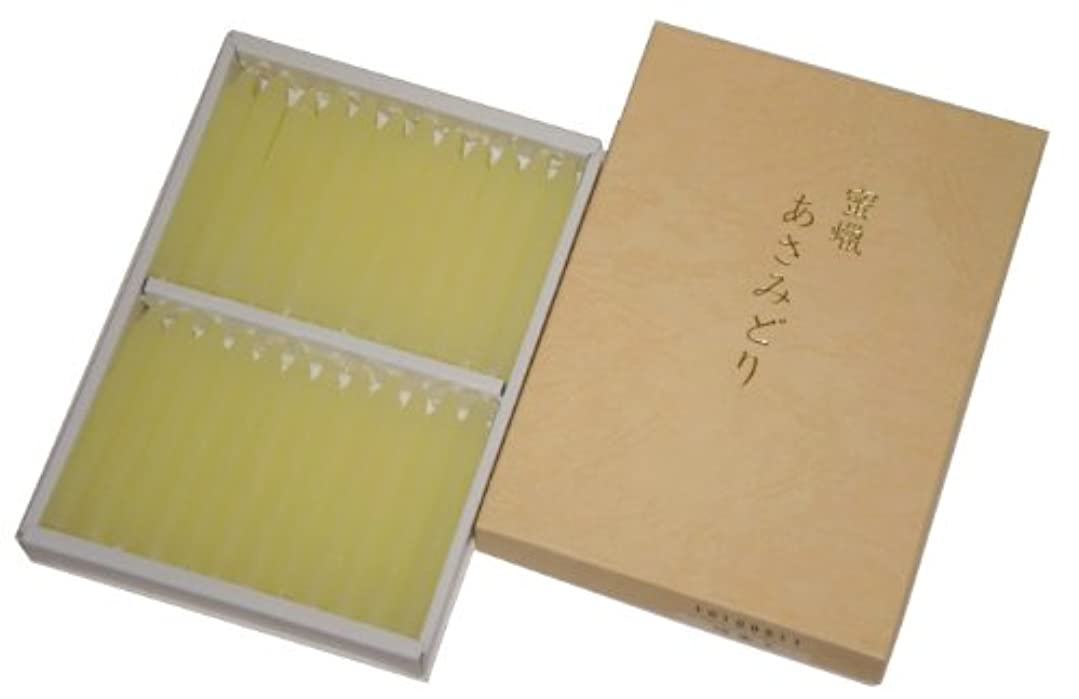 デマンド金銭的石炭鳥居のローソク 蜜蝋 あさみどり 太ダルマ48本入 印刷箱 #100511