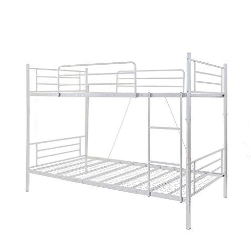 OSJ 大人用可2段ベッド 子供部屋二段ベッド 二段ベッド パイプ 耐荷100KG 耐震 金属製 業務用二段ベッド コンパクト 社員寮 学生寮 3色 (ホワイト)