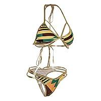 Baosity 水着 ビキニ 上下2点セット レディース 幾何学的 ひも セクシー 美肌 水泳 海 温泉 ビーチ 全4サイズ - L