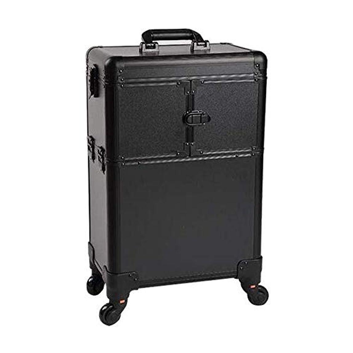 結婚延ばす裏切りYWAWJ トロリーアルミ合金メイクボックスツールボックスを使用した高ローリングリムーバブル主催トロリー特大トレインケースビッグメイクケースピンク容量ユニバーサルホイールタトゥー (Color : Black)
