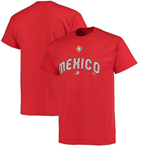 Majestic(マジェスティック) WBC メキシコ 2017 ワールドベースボールクラシック ワードマーク Tシャツ (レッド) - XL
