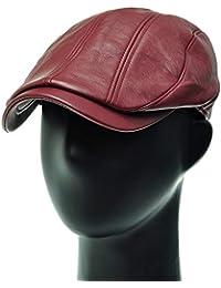 [PLIC N PLOC]EMH02.単色人工皮革メンズベレー帽 ハンチング フラットキャップ帽子 鳥打ち帽 春 秋