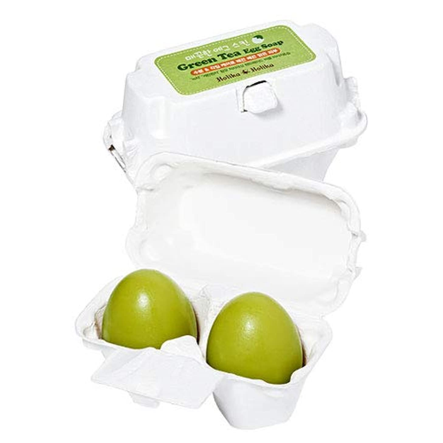 宣言する前パフ[緑茶/Green Tea] Holika Holika Egg Skin Egg Soap ホリカホリカ エッグスキン エッグソープ (50g*2個) [並行輸入品]
