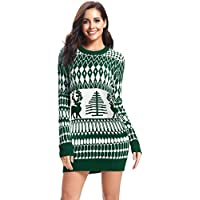 iClosam Women's Ugly Christmas Sweater Reindeer Snowflakes Pullover Jumper