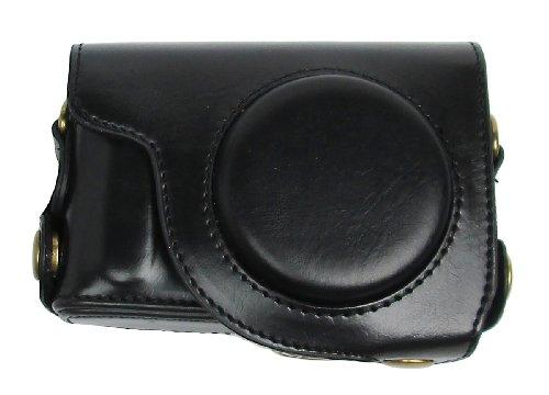R-STYLE 洗練されたモダンデザイン Canon PowerShot S95 S110 S120用合皮レザー カメラケース マイクロファイバークロス付きセット (ブラック)
