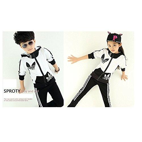 『Narashopジャージ 子供 2点セット 女の子 男の子 子供 キッズ スウェット 上下 セットアップ 上下セット 長袖 ジャージ ダンスウェア ダンス衣装 ヒップホップ パーカー コート ズボン スポーツウェア カジュアル スウェット パジャマ おしゃれ 韓国子供服 (150, ブラック)』の4枚目の画像
