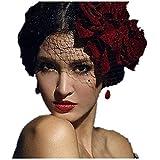 Mini Top Hat Red Flower Rose Hats Veil Gothic Lolita Fancy