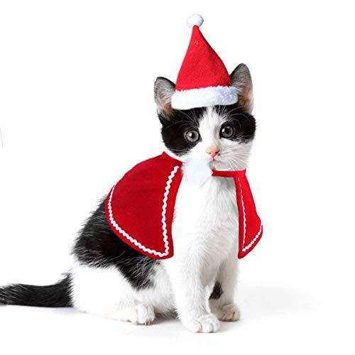 ペット 犬 猫 お姫様服 帽子 ケープ クリスマス 誕生日 パーティー 衣装 ドレス レッド 3サイ...