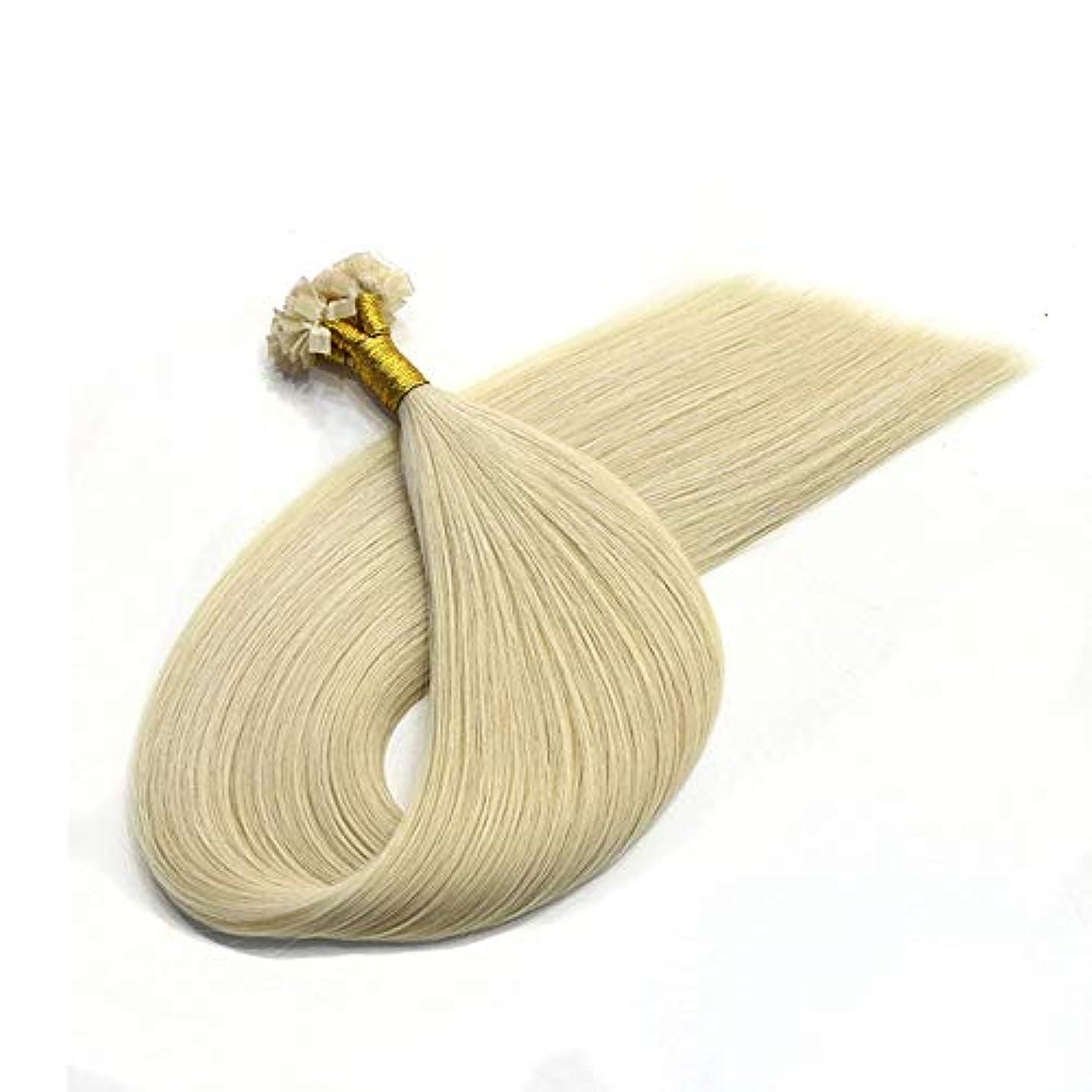 休みファセットスイス人WASAIO ヘアエクステンションクリップUnseamed髪型アッシュブロンドのブラジルレミーナノヒントビーズ100%人間の髪 (色 : Blonde, サイズ : 10 inch)