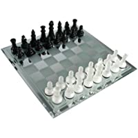 Avant-Garde Black Frosted Glass Chess Set with Mirror Board [並行輸入品]