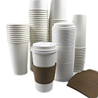 Black Cat Avenue使い捨てホットコーヒーPaper Cups with Lids and Sleeves、50セット 20 oz