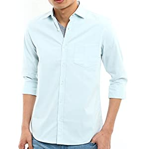 インプローブス シャツ オックスフォードシャツ yシャツ カッターシャツ オックスシャツ ストレッチシャツ スリム メンズ B 七分袖 サックス Mサイズ