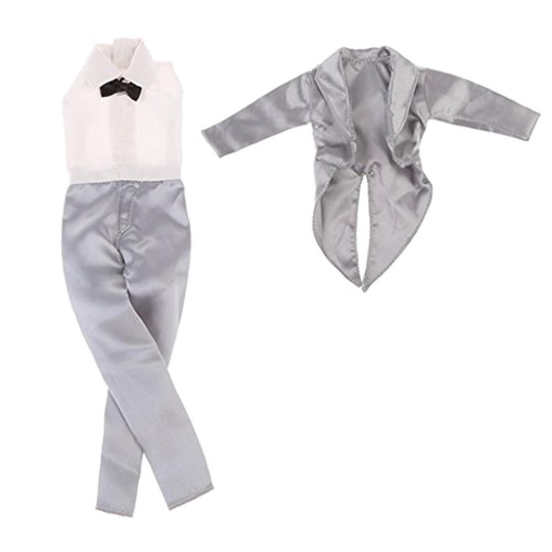 SONONIA 1/6ドール バービーケンプリンス 人形用 ウェディングコスチューム ジャンプスーツ 2色 - 銀