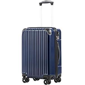 [クールライフ] COOLIFE スーツケース キャリーバッグダブルキャスター 二年安心保証 機内持込 ファスナー式 人気色 超軽量 TSAローク (S サイズ(機内持ち込み), ネービー)