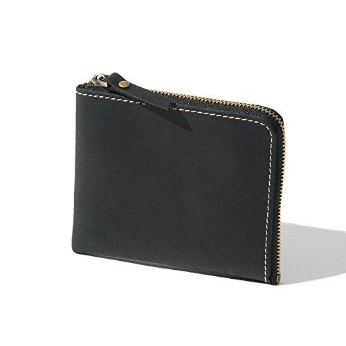 本革 L字ファスナー 財布 レザー 小さい財布 薄い財布 小銭入れ コインケース メンズ レディース (ブラック)