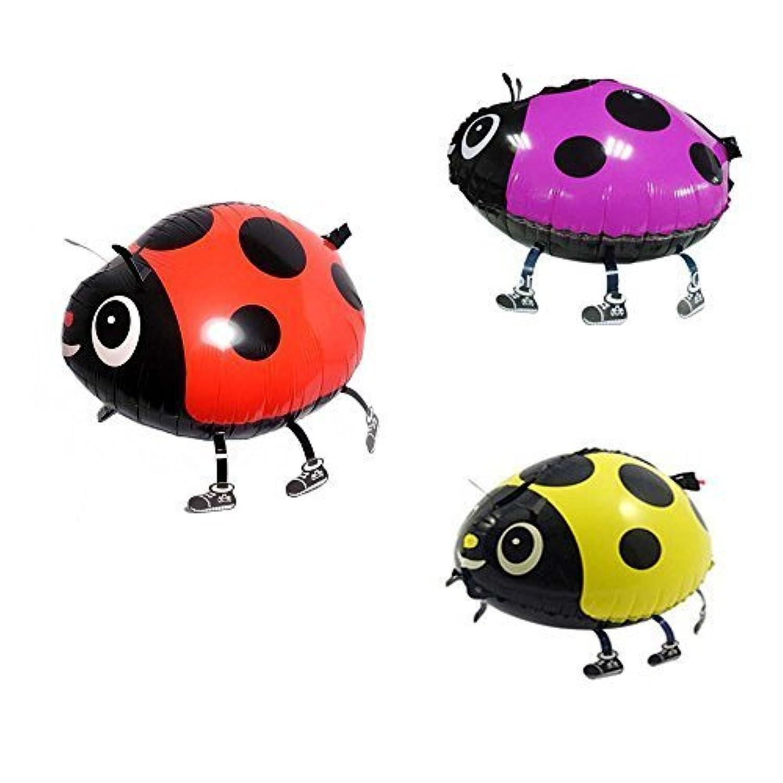 Miyaya Assorted Ladybug Insect Walking Animal Balloon Pet Air Walker For Children Kids Fun Party,Set of 3 (red, yellow, pink)