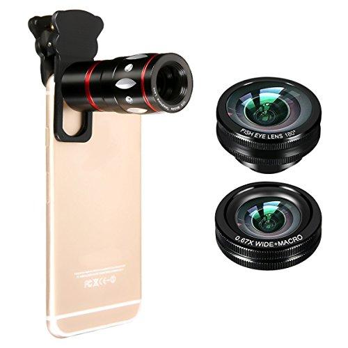 4in1 スマホレンズ M.Way 光学10倍望遠ズームレンズ 180°魚眼 0.67x広角レンズ マクロレンズ クリップ式 iPhone HTC iPad Samsung Tablet PC ノートパソコン対応