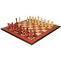 新しいExclusive Stauntonチェスセットin African Padauk & Boxwood with Molded Padaukチェスボード – 3.5