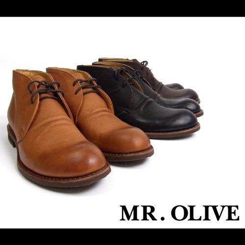 【MROLIVE(ミスターオリーブ)】ウォータープルーフシュリンクレザーチャッカブーツ9 1/2(L)サイズ ブラウン