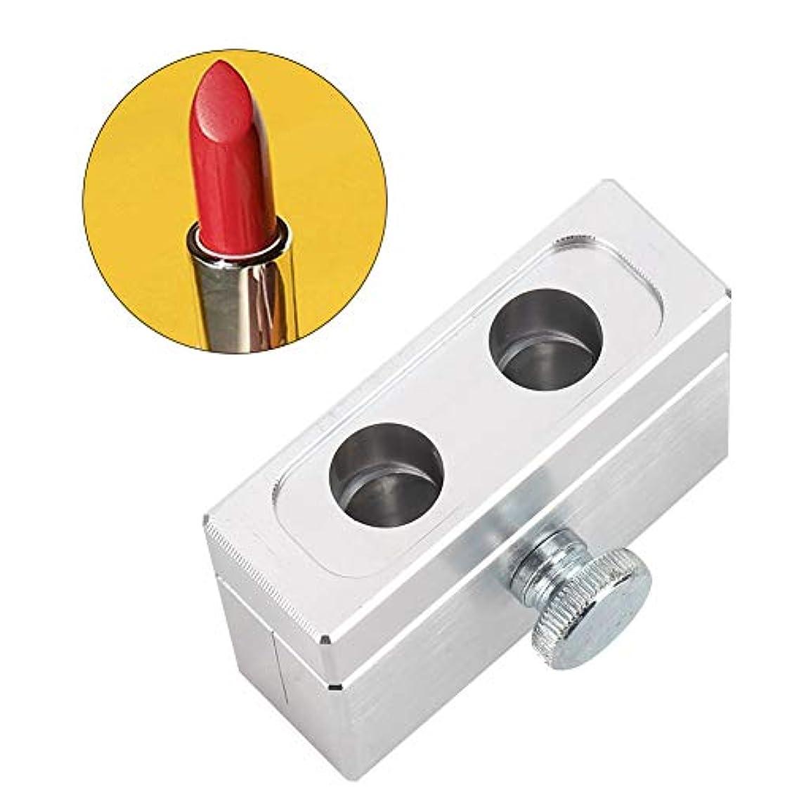融合肘足DIY口紅型、口紅容器 12.1mm 2穴くちばし型アルミニウム合金リップバームモールドホルダートリプル使用化粧品リップバームフィルメーカー成形ツール(銀色)