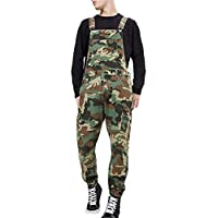 Loose Bib Overalls for Men Camouflage Print Casual Long Pants Jumpsuit Outdoor Trousers,L
