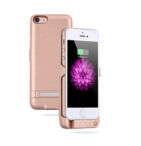 iPhone5/5s用 バッテリーケース モバイルバッテリー バッテリー内蔵ケース 一体型 充電ケース 大容量4200mAh ゴールド