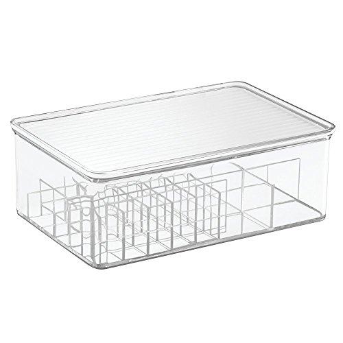InterDesign 洗面所 口紅 化粧品 小物 収納ボックス 蓋付き 仕切りオーガナイザー Clarity 39530EJ