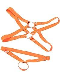 【ノーブランド品】 メンズ セクシー ランジェリー ストラップ ボディスーツ ハーネス 下着 パンツ 全5色 - オレンジ
