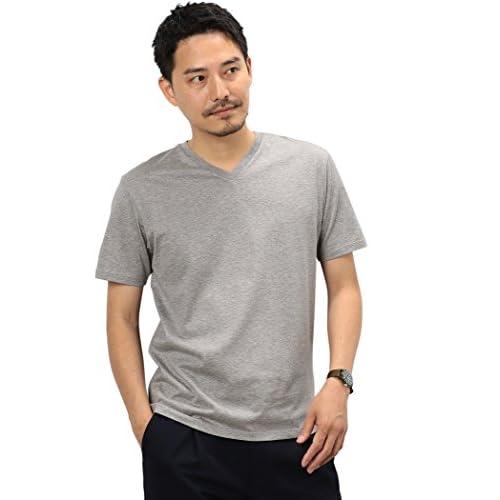 (ユナイテッドアローズ グリーンレーベル リラクシング) UNITED ARROWS green label relaxing CM ◎GIZA Vネック S/S Tシャツ 32171994249 1570 MD.GRAY(15) L