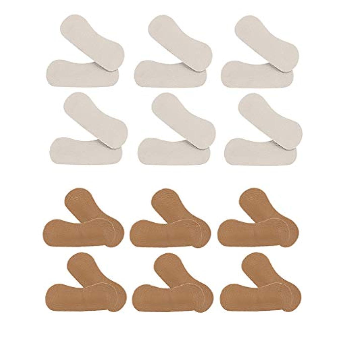 乗ってムス浴室Hellery 12ペア 靴かかと保護パッド ヒールパッド クッション PUレザー 靴擦れ防止 保護 男女兼用