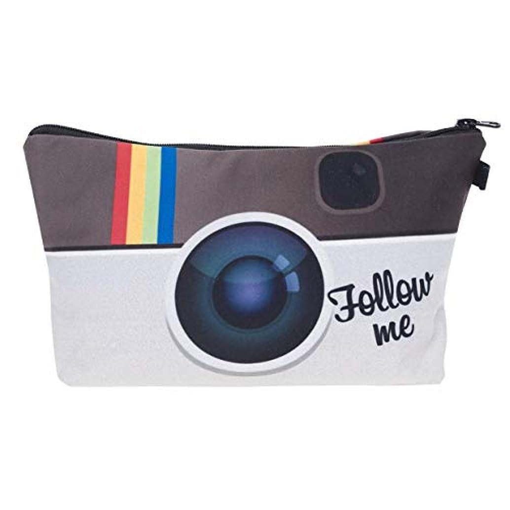 うなる電気陽性スチュワーデスwijaso 丈夫な3 D印刷カメラは、旅行化粧バッグのために化粧品バッグ多機能を投げます(None 01)