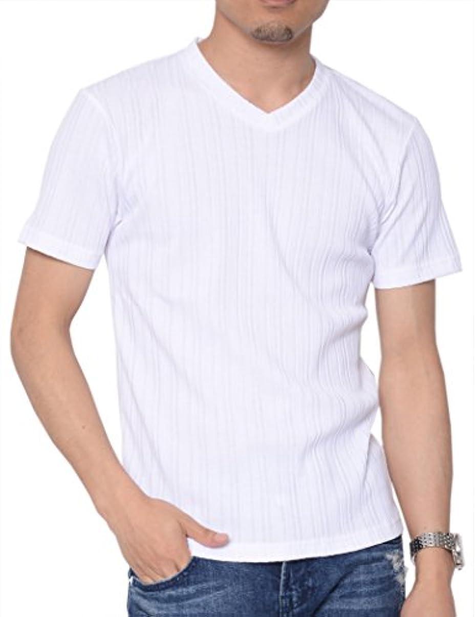 敏感な哲学的打ち上げるティーシャツドットエスティー Tシャツ Vネック 半袖 無地 ランダムテレコ カットソー メンズ