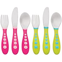 Gerber Stainless Steel Tip Kiddy Cutlery 6-Piece Set, Pink/Green by NUK
